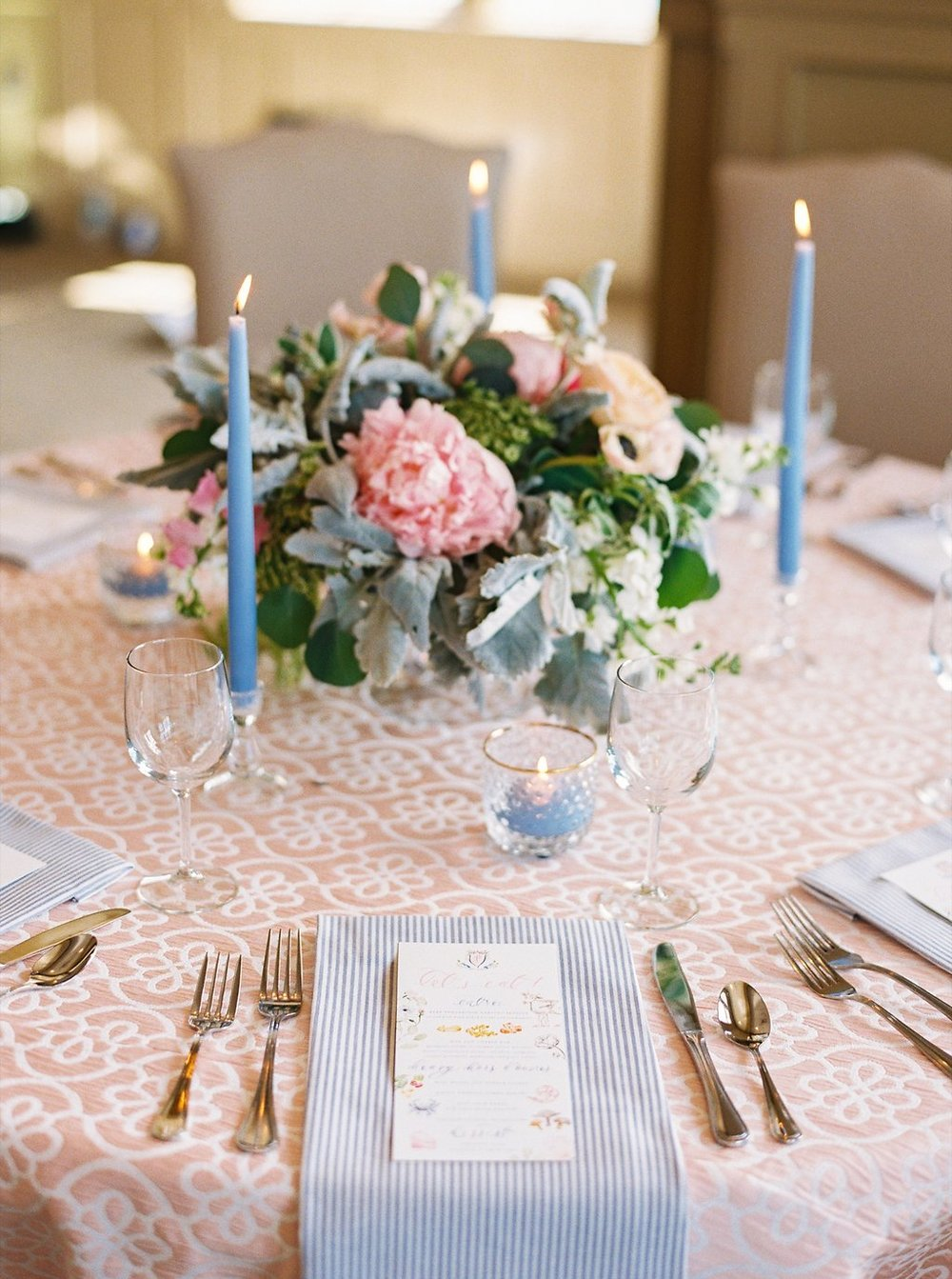 Southern Wedding Reception Design with Patterned Linens, Colorful Floral Centerpieces, and Sweet Blue Taper Candles | Blush and Navy Wedding with Fuchsia, French Blue and Gold Accents | Simply Jessica Marie's Southern Wedding at Gettysvue Golf Course and Country Club in Knoxville Tennessee | Photo by Perry Vaile Photography