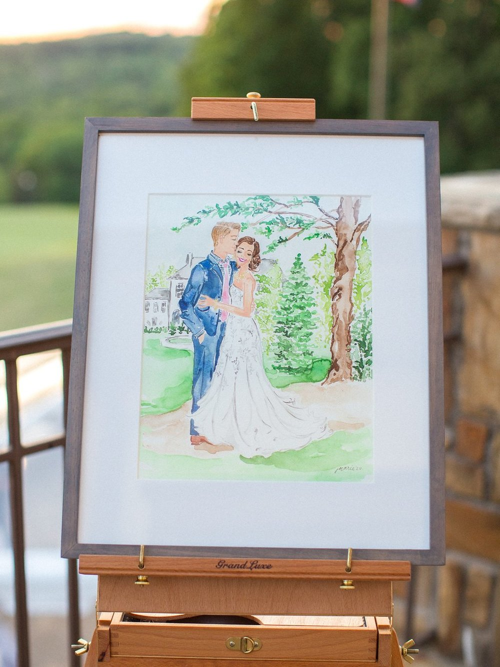 Custom Watercolor Wedding Portrait as Guest Book Alternative | Blush and Navy Wedding with Fuchsia, French Blue and Gold Accents | Simply Jessica Marie's Southern Wedding at Gettysvue Golf Course and Country Club in Knoxville Tennessee | Photo by Perry Vaile Photography