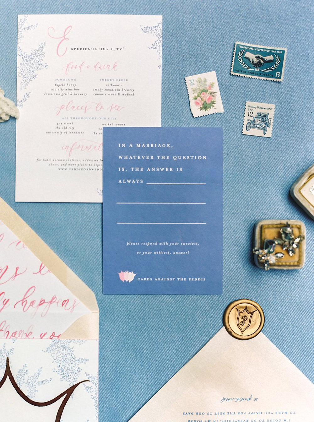 Cards Against Humanity Inspired Wedding Response Cards in a Custom Watercolor Floral and Gold Foil Wedding Invitations with Watercolor Wedding Map, Custom Watercolor Wedding Crest, Gold Wax Seal and Calligraphy Envelope Liners Blush and Navy Wedding with Fuchsia, French Blue and Gold Accents | Simply Jessica Marie's Southern Wedding at Gettysvue Golf Course and Country Club in Knoxville Tennessee | Photo by Perry Vaile Photography