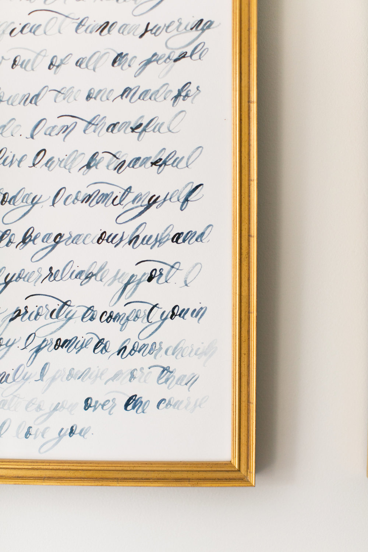 custom watercolor brush calligraphy wedding vows set simply