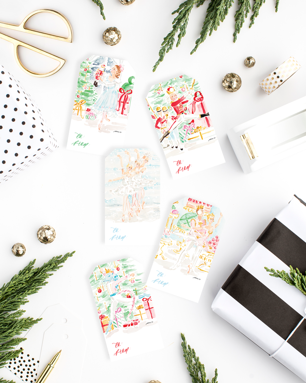 The Nutcracker Watercolor Illustrations Gift Tags Variety Set by Simply Jessica Marie | SC Stockshop