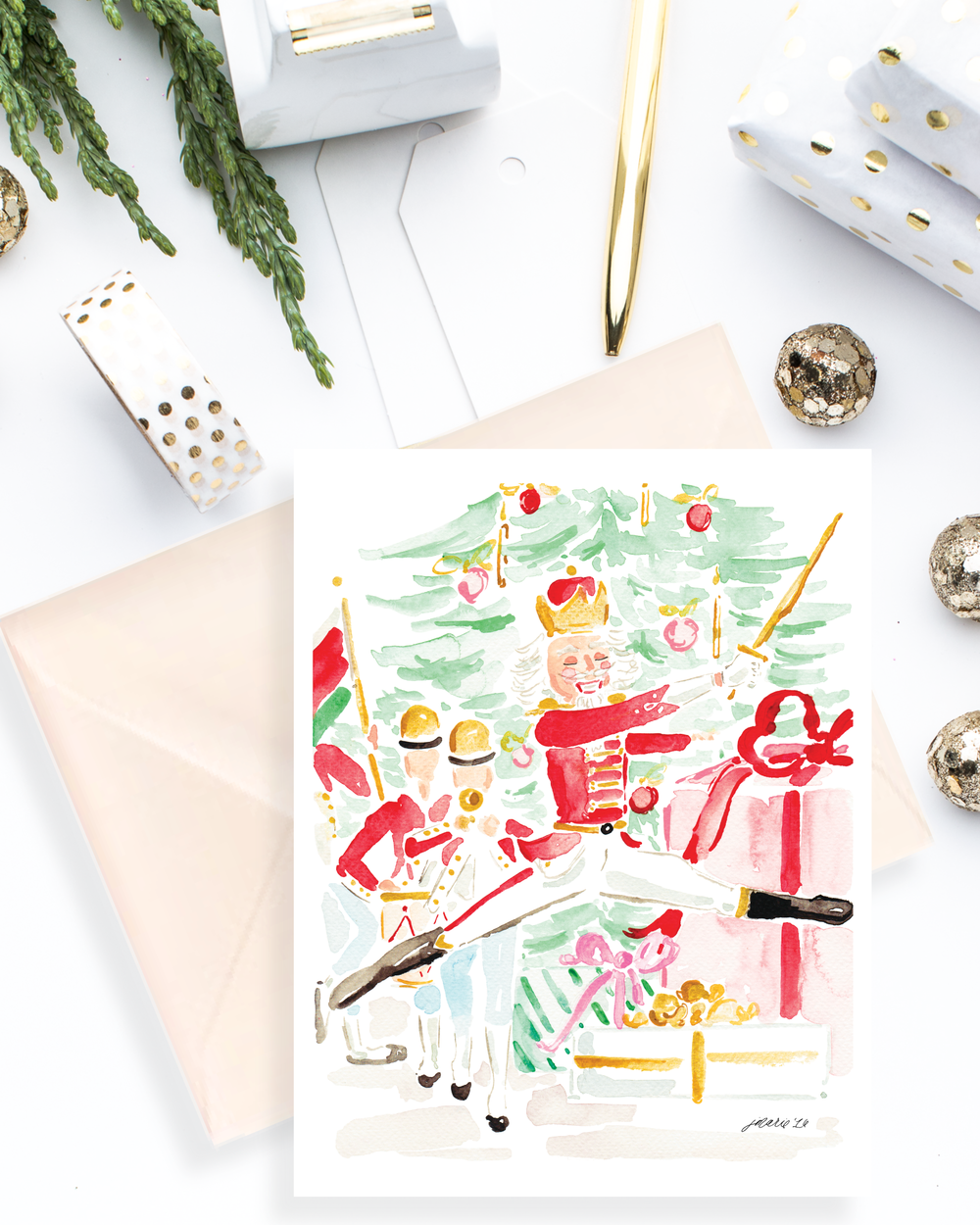 The Nutcracker Watercolor Holiday Card by Simply Jessica Marie | SC Stockshop