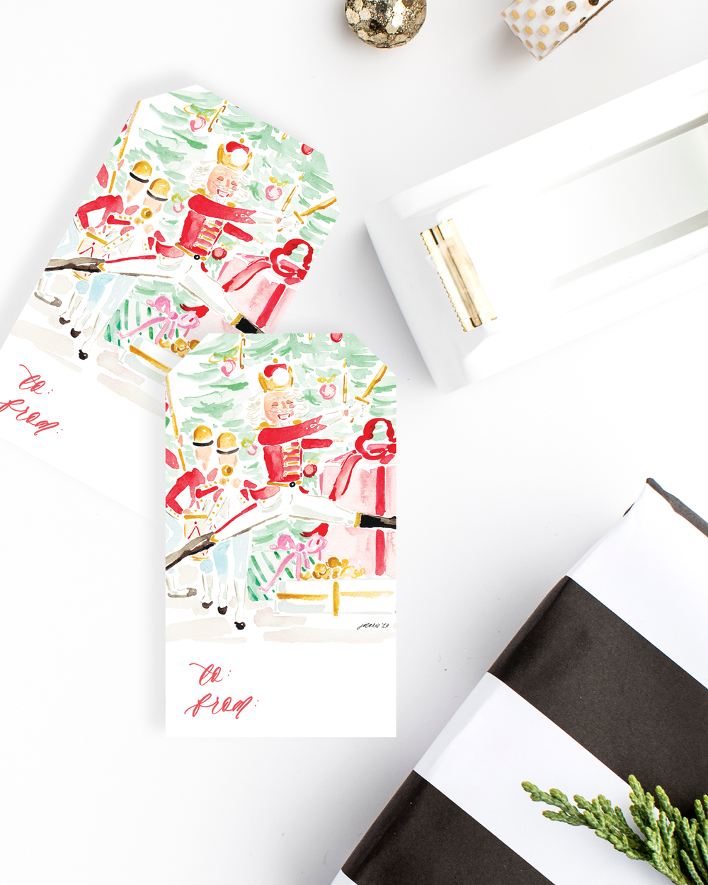 Copy of The Nutcracker Watercolor Gift Tags Variety Set Illustrated by Simply Jessica Marie | Top Tips for Using Styled Stock Photos for Shop Owners | SC Stockshop