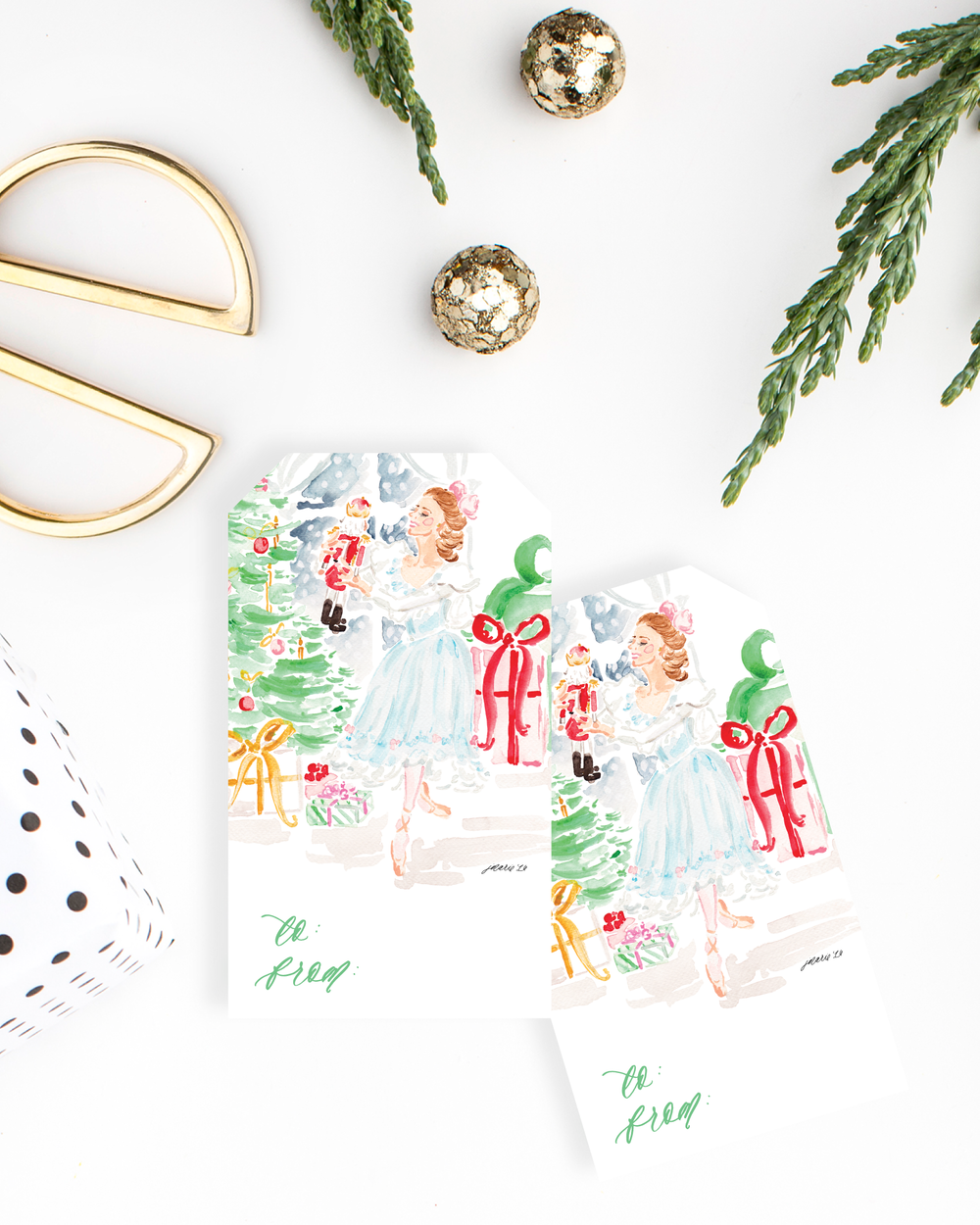 The Nutcracker Watercolor Gift Tags Variety Set Illustrated by Simply Jessica Marie | Top Tips for Using Styled Stock Photos for Shop Owners | SC Stockshop