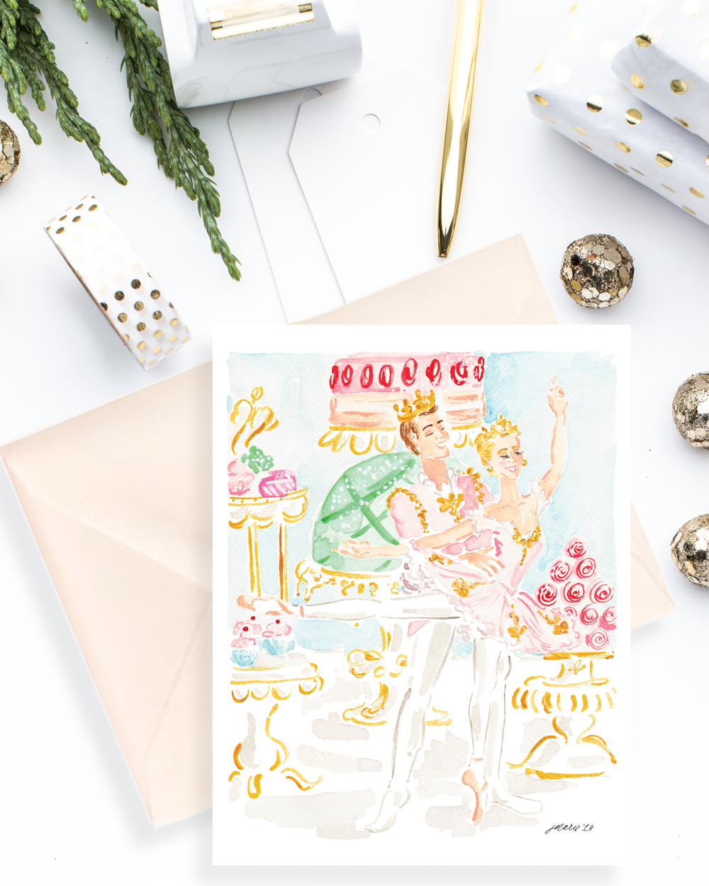 The Nutcracker Sugar Plum Fairy Watercolor Holiday Greeting Card by Simply Jessica Marie | Top Five Tips for Using Styled Stock Photos for Shop Owners | SC Stockshop