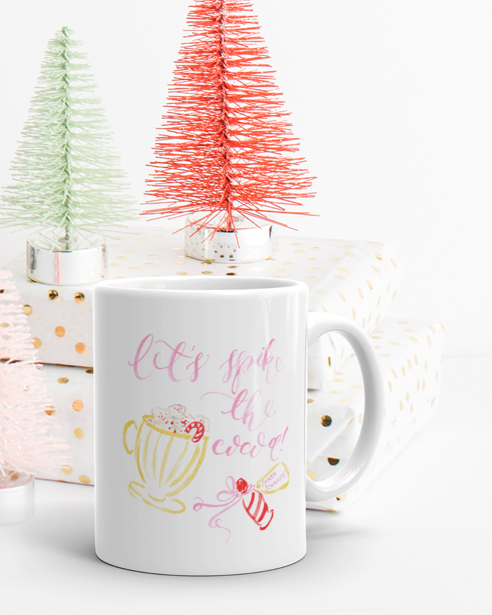 Let's Spike the Cocoa Watercolor Christmas Mug by Simply Jessica Marie