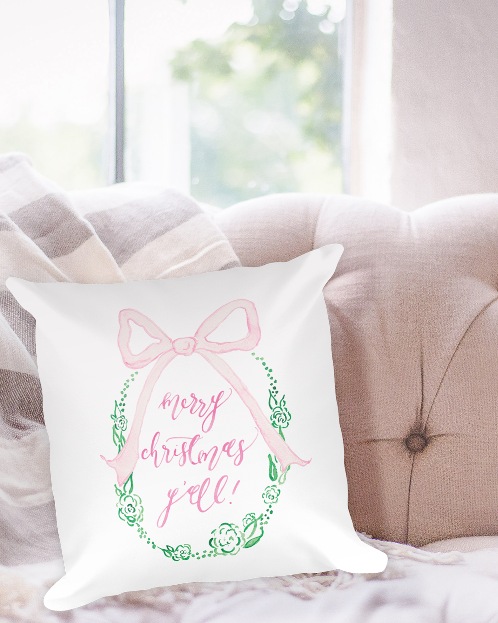 Merry Christmas Y'all Watercolor Christmas Pillow by Simply Jessica Marie