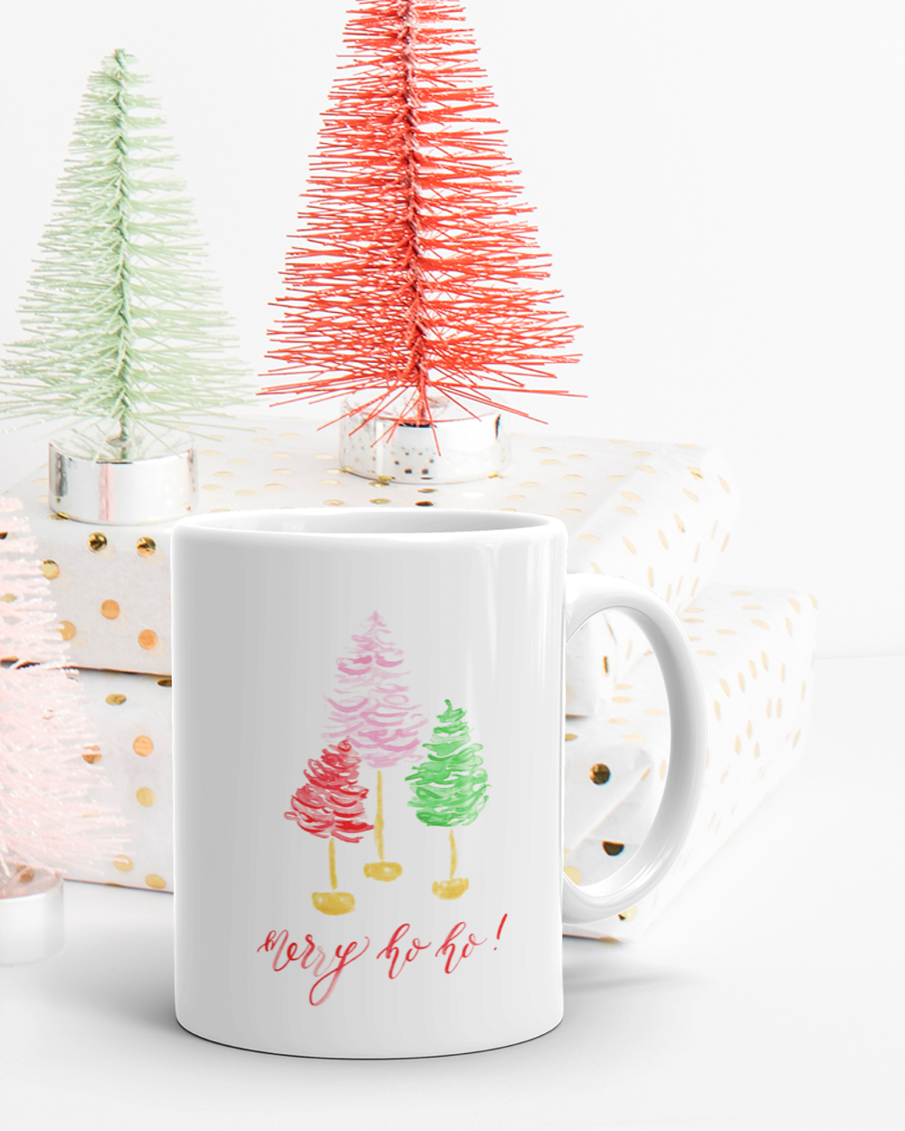 Merry Ho Ho Watercolor Christmas Mug by Simply Jessica Marie