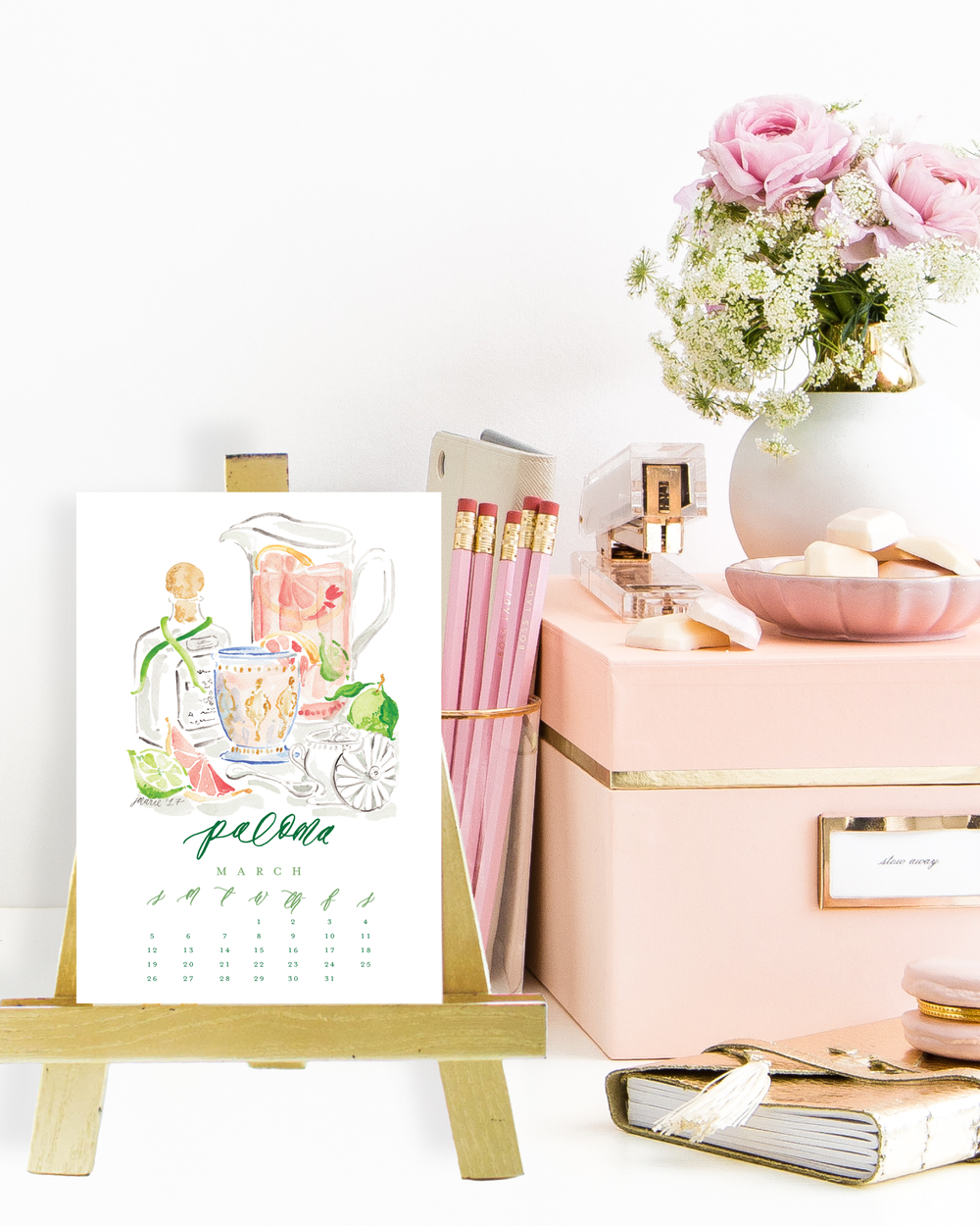 2017 Cocktail Calendar with Watercolor Cocktail Illustrations by Simply Jessica Marie
