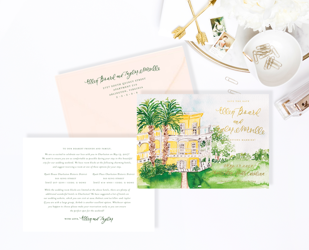 Charleston Save the Dates with Watercolor Venue Painting by Simply Jessica Marie | SC Stockshop