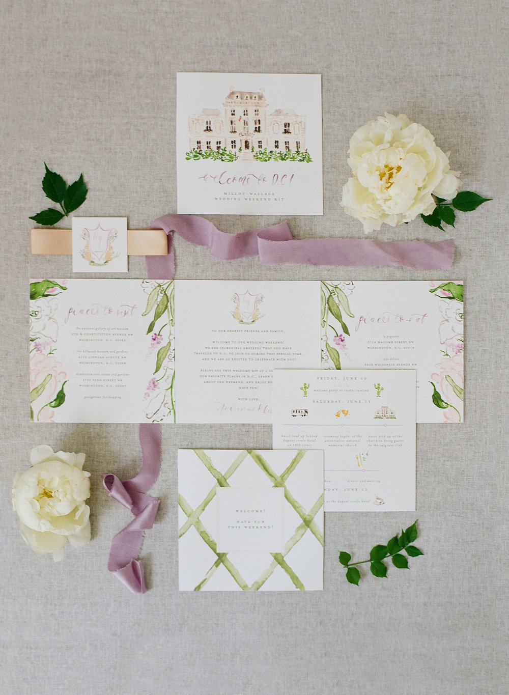 Custom Watercolor D.C. Wedding Welcome Guide by Simply Jessica Marie | Audra Wrisley Photography