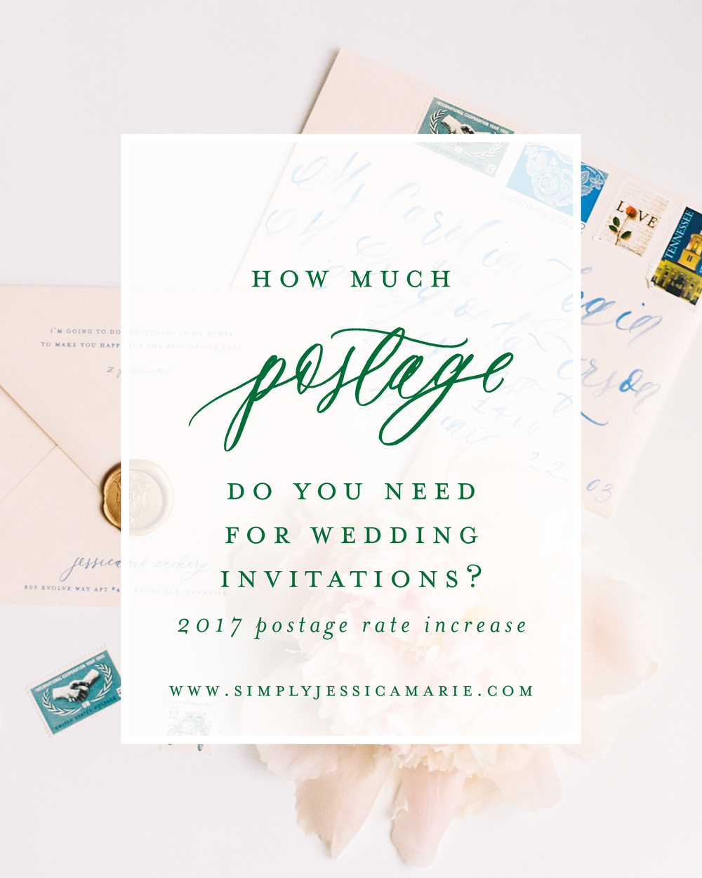 How much postage do you need for wedding invitations? | Wedding stationery advice from Simply Jessica Marie