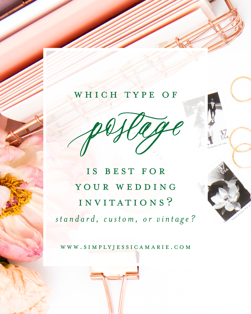 Comparing Wedding Postage Options | Standard USPS Postage, Custom Postage, and Vintage Postage Stamps - which style is the best fit for your wedding invitations? A free resource guide to my top 3 favorite sources for wedding postage! | Simply Jessica Marie