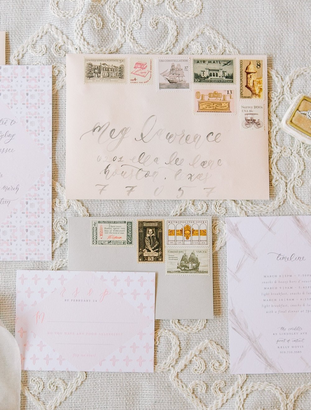 Vintage Postage Stamps from Verde Studio | Comparing Wedding Postage Options | Standard USPS Postage, Custom Postage, and Vintage Postage Stamps - which style is the best fit for your wedding invitations? A free resource guide to my top 3 favorite sources for wedding postage! | Simply Jessica Marie