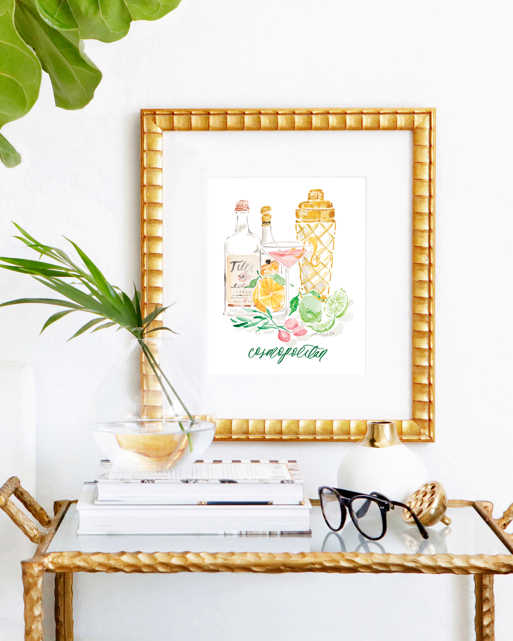 Classic Cosmopolitan cocktail recipe | Cosmopolitan watercolor art print by Simply Jessica Marie | SC Stockshop