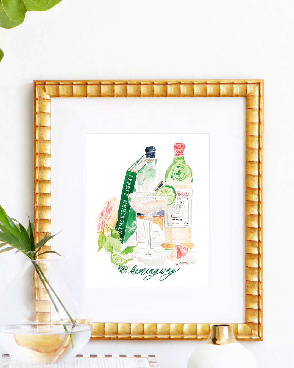Classic Hemingway Daiquiri cocktail recipe | Hemingway Daiquiri watercolor art print by Simply Jessica Marie | SC Stockshop