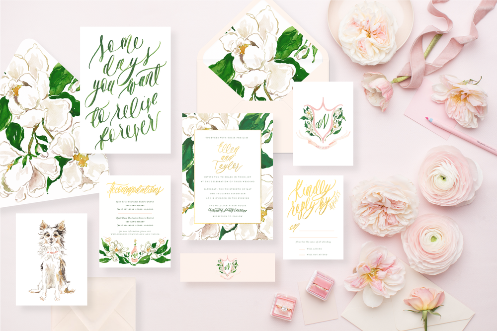 Styled Stock Photos for Stationers, Calligraphers, and Designers | A collaboration with SC Stockshop and MaeMae & Co | Review by Simply Jessica Marie | Watercolor Magnolia Wedding Invitations for a Classic Charleston Wedding | Gold Foil and Watercolor Wedding Invitations