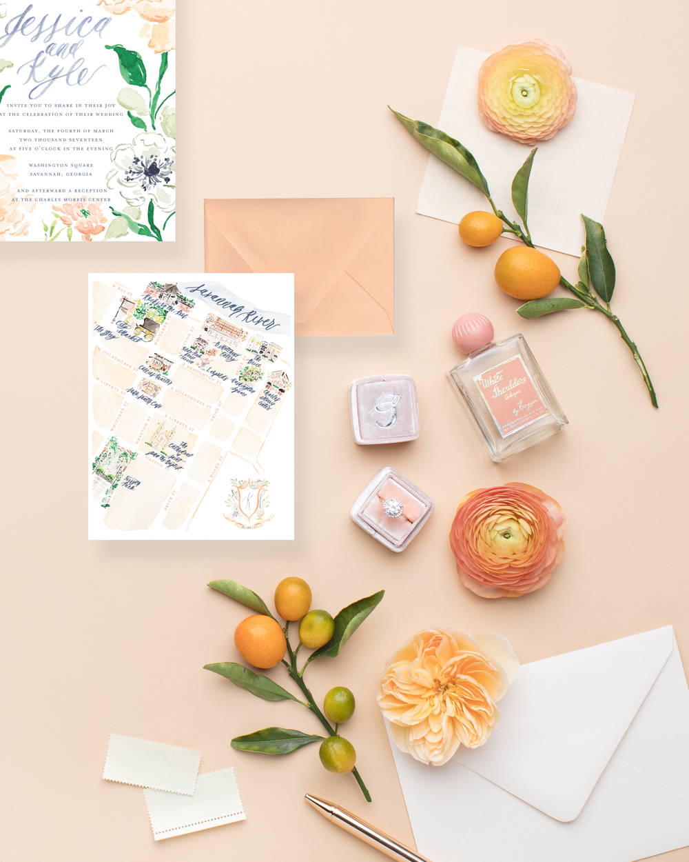 Styled Stock Photos for Stationers, Calligraphers, and Designers | A collaboration with SC Stockshop and MaeMae & Co | Review by Simply Jessica Marie | Watercolor Floral Wedding Invitations for a Savannah Wedding | Peach and Dusty Blue Watercolor Wedding Invitations