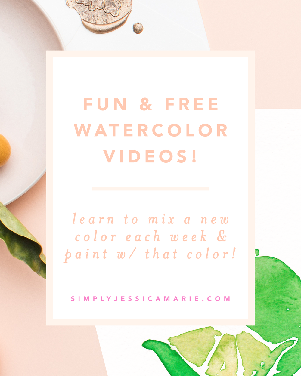 Fun and free watercolor videos by Simply Jessica Marie! Learn to mix new colors each week and paint with that color! | SC Stockshop