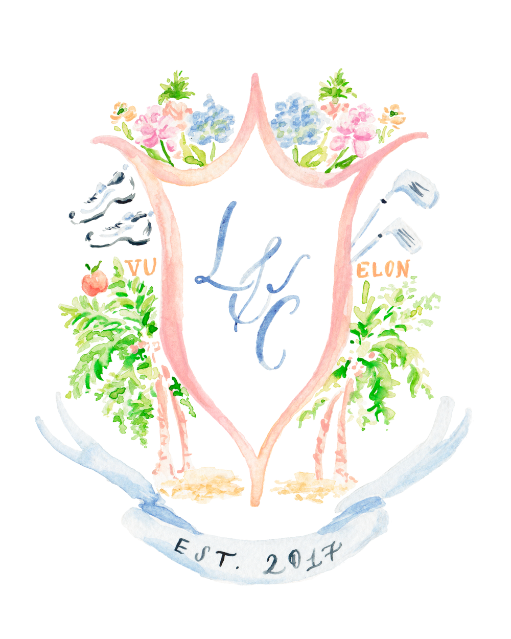 custom watercolor wedding crest simply jessica marie