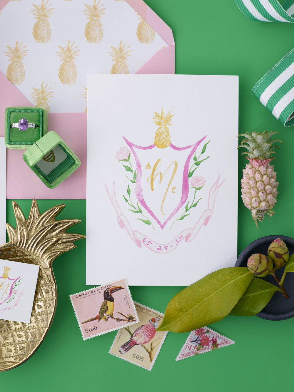 Pineapple Wedding Invitations | Southern preppy Charleston wedding invitations | Custom watercolor wedding crest with pineapple | Custom wedding invitations by Simply Jessica Marie | Photo by Jose Villa for The Mrs. Box