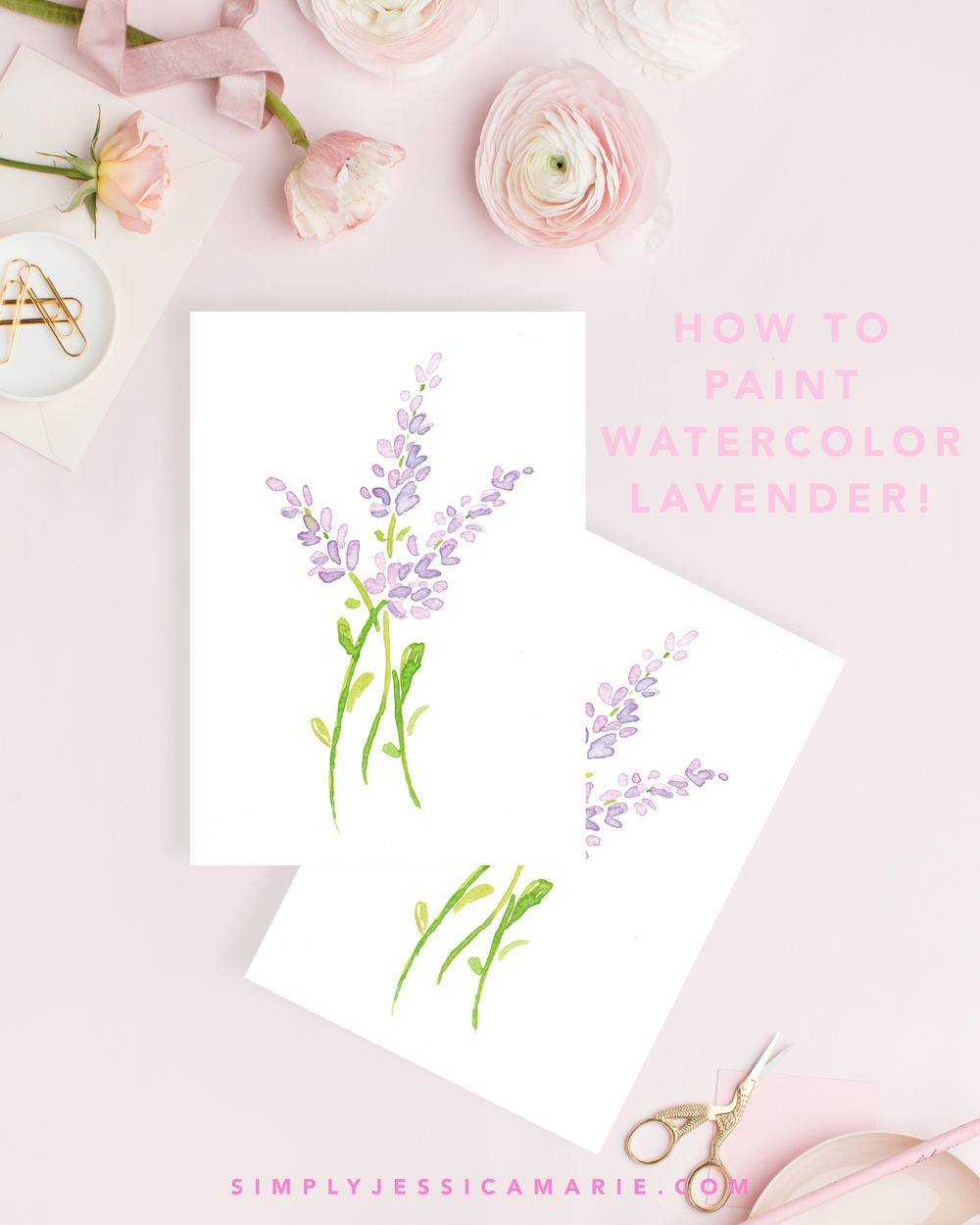How to paint watercolor lavender! Fun and free watercolor videos by Simply Jessica Marie! Learn to mix new colors each week and paint with that color! | SC Stockshop