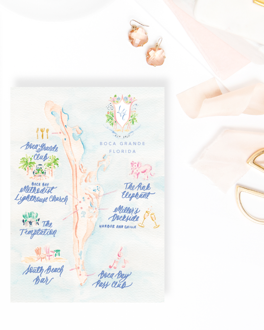 Custom watercolor wedding map of Boca Grande, Florida by Simply Jessica Marie | Photo by SC Stockshop
