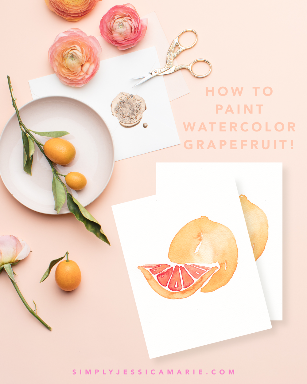 How to paint watercolor grapefruit! Fun and free watercolor videos by Simply Jessica Marie! Learn to mix new colors each week and paint with that color! | SC Stockshop