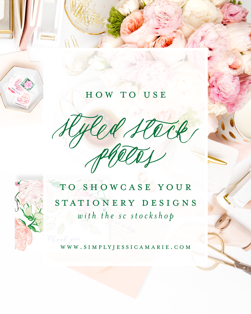 How to use styled stock photos to showcase your stationery designs with the SC Stockshop | Free video tutorial by Simply Jessica Marie