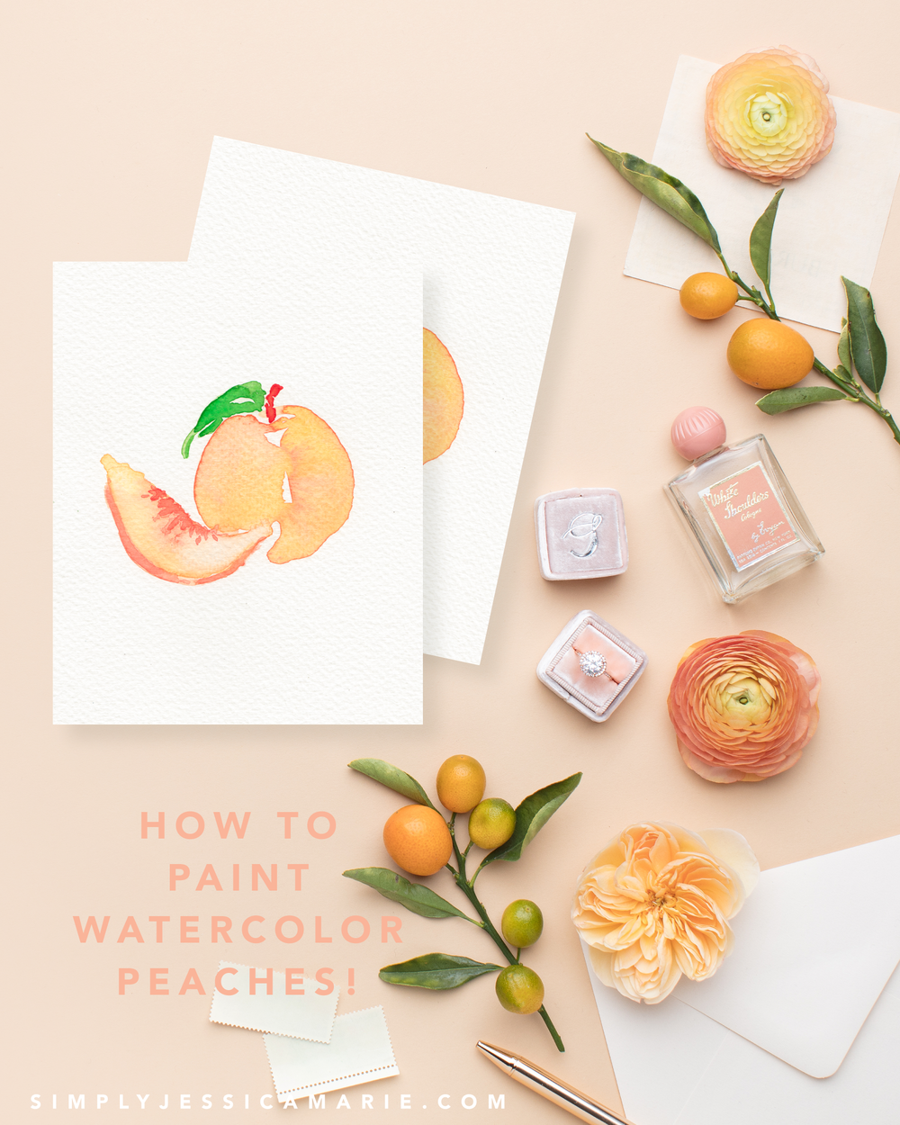 How to paint watercolor peaches! Fun and free watercolor videos by Simply Jessica Marie! Learn to mix new colors each week and paint with that color! | SC Stockshop