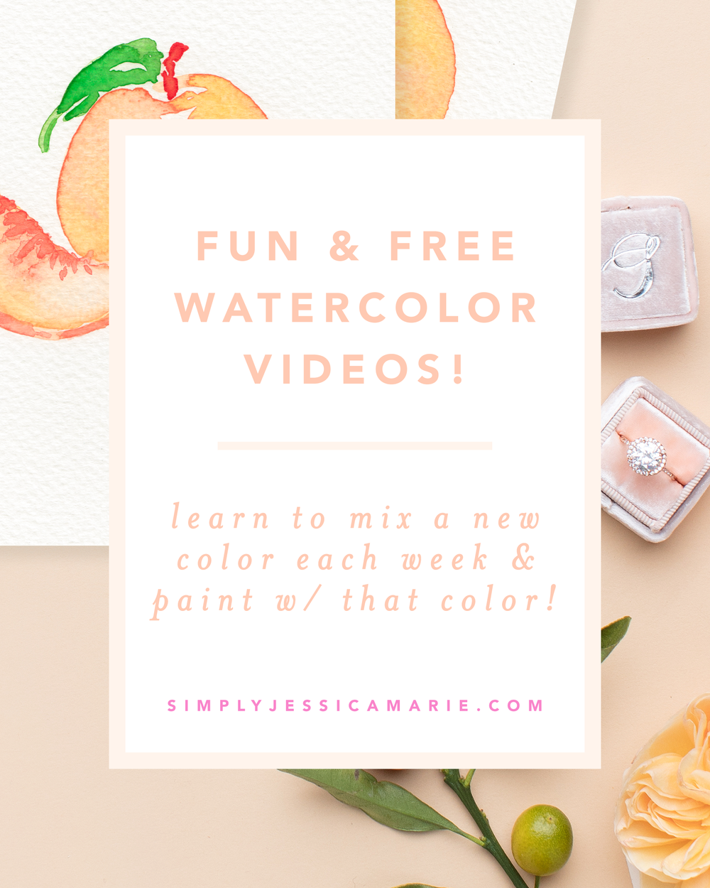 Peaches color cocktails watercolor tutorial series for Learn to paint online
