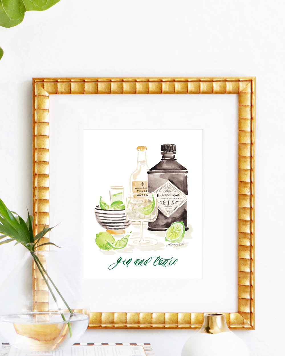 Classic Gin and Tonic cocktail recipe | Gin and Tonic watercolor art print by Simply Jessica Marie | SC Stockshop