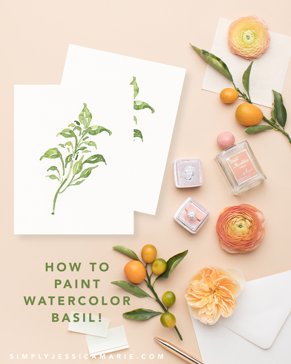 How to paint watercolor basil! Fun and free watercolor videos by Simply Jessica Marie! Learn to mix new colors each week and paint with that color! | SC Stockshop