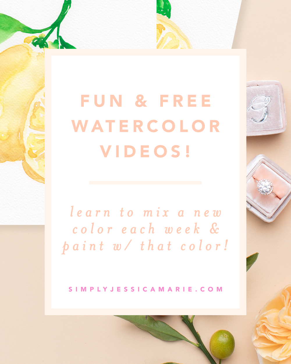 How to paint watercolor lemons! Fun and free watercolor videos by Simply Jessica Marie! Learn to mix new colors each week and paint with that color! | SC Stockshop
