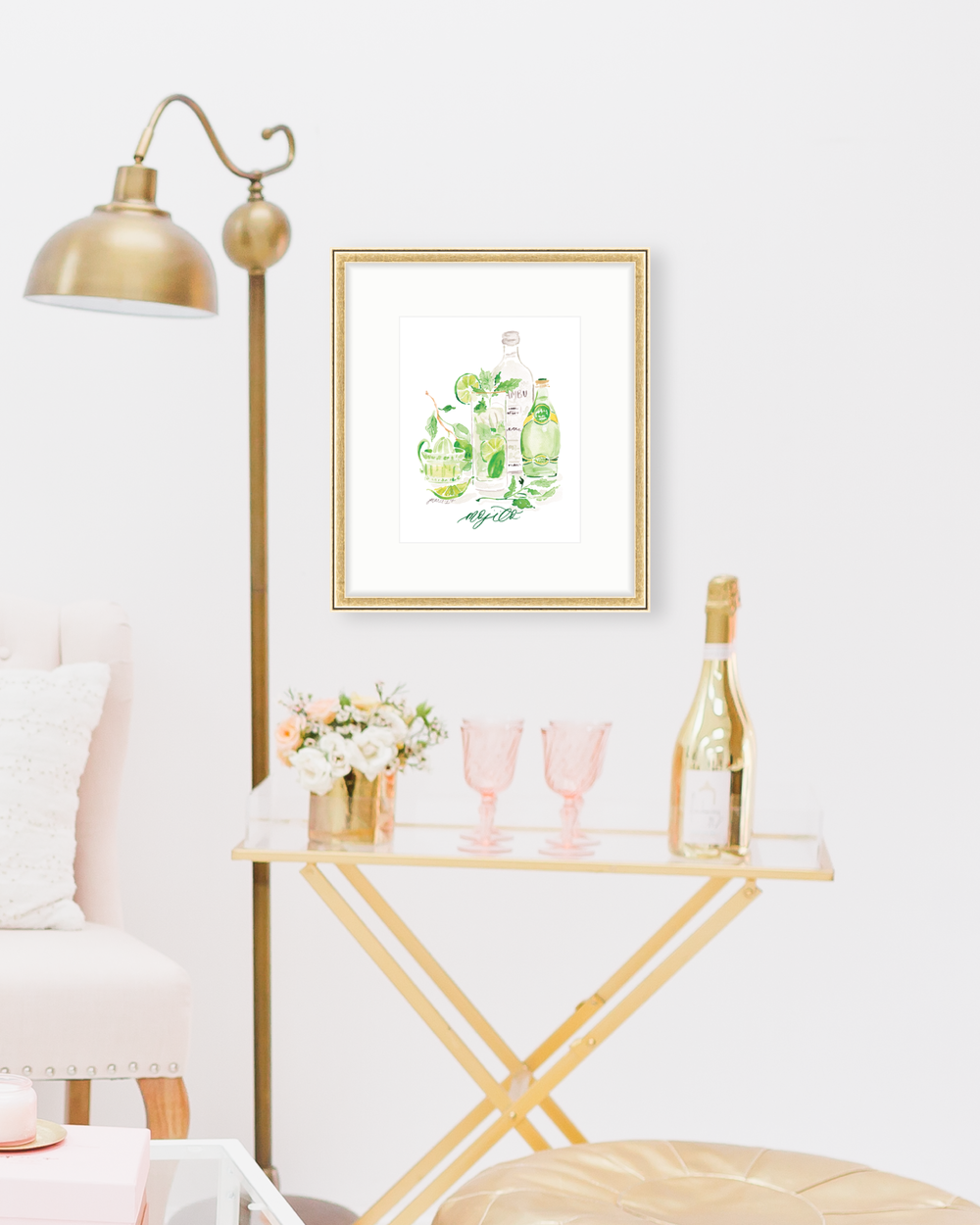 Classic Mojito cocktail recipe | Mojito watercolor art print by Simply Jessica Marie | SC Stockshop