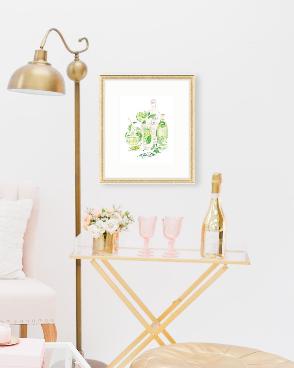 Classic Mojito cocktail recipe | Mojito watercolor art print by Simply Jessica Marie | SC Stockshop