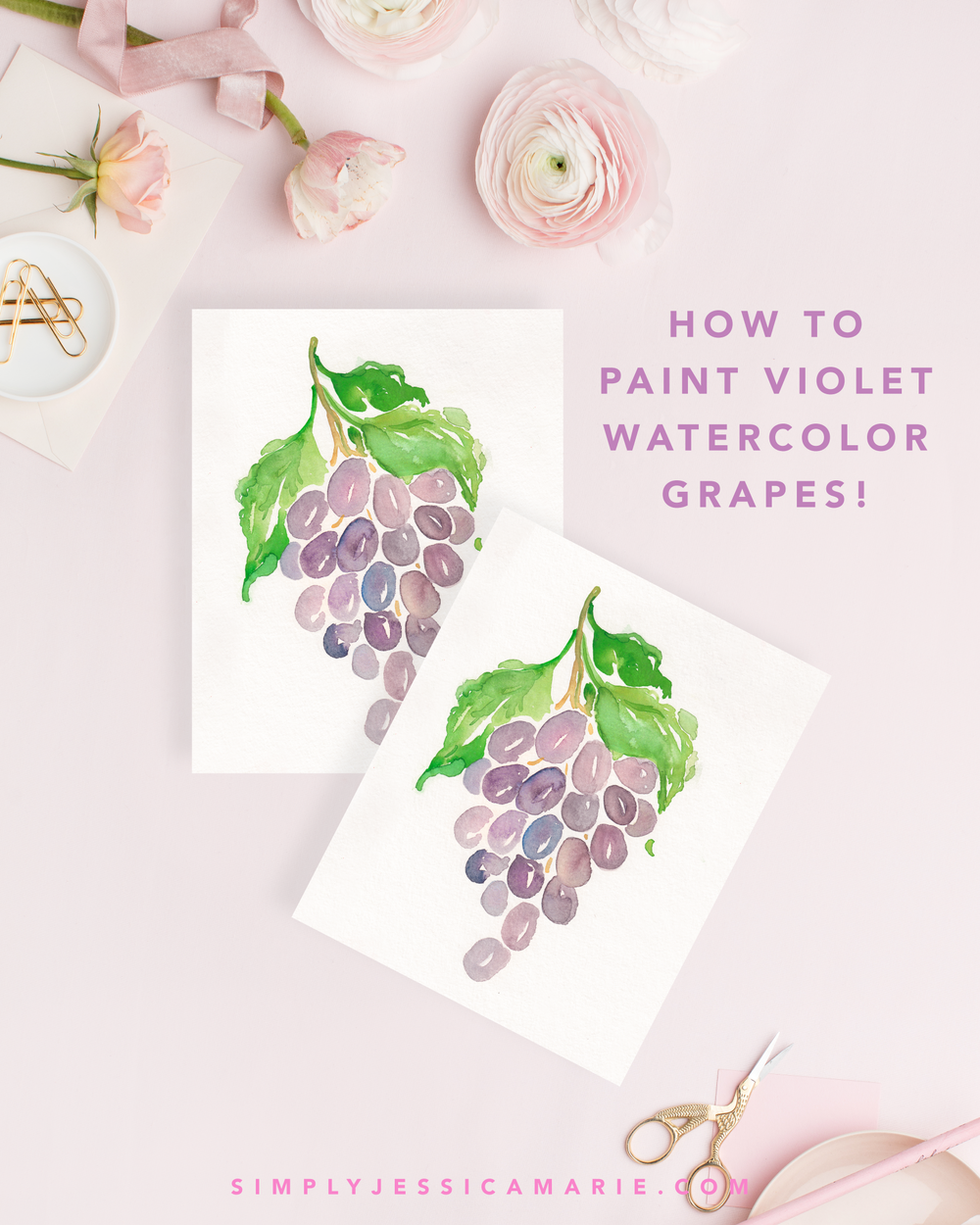 How to paint watercolor violet grapes! Fun and free watercolor videos by Simply Jessica Marie! Learn to mix new colors each week and paint with that color! | SC Stockshop