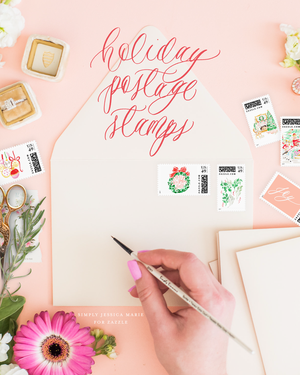 Holiday Postage Stamps by Simply Jessica Marie | Watercolor Postage Stamps | Zazzle Postage Stamps | Photo by Callie Lindsey Photography