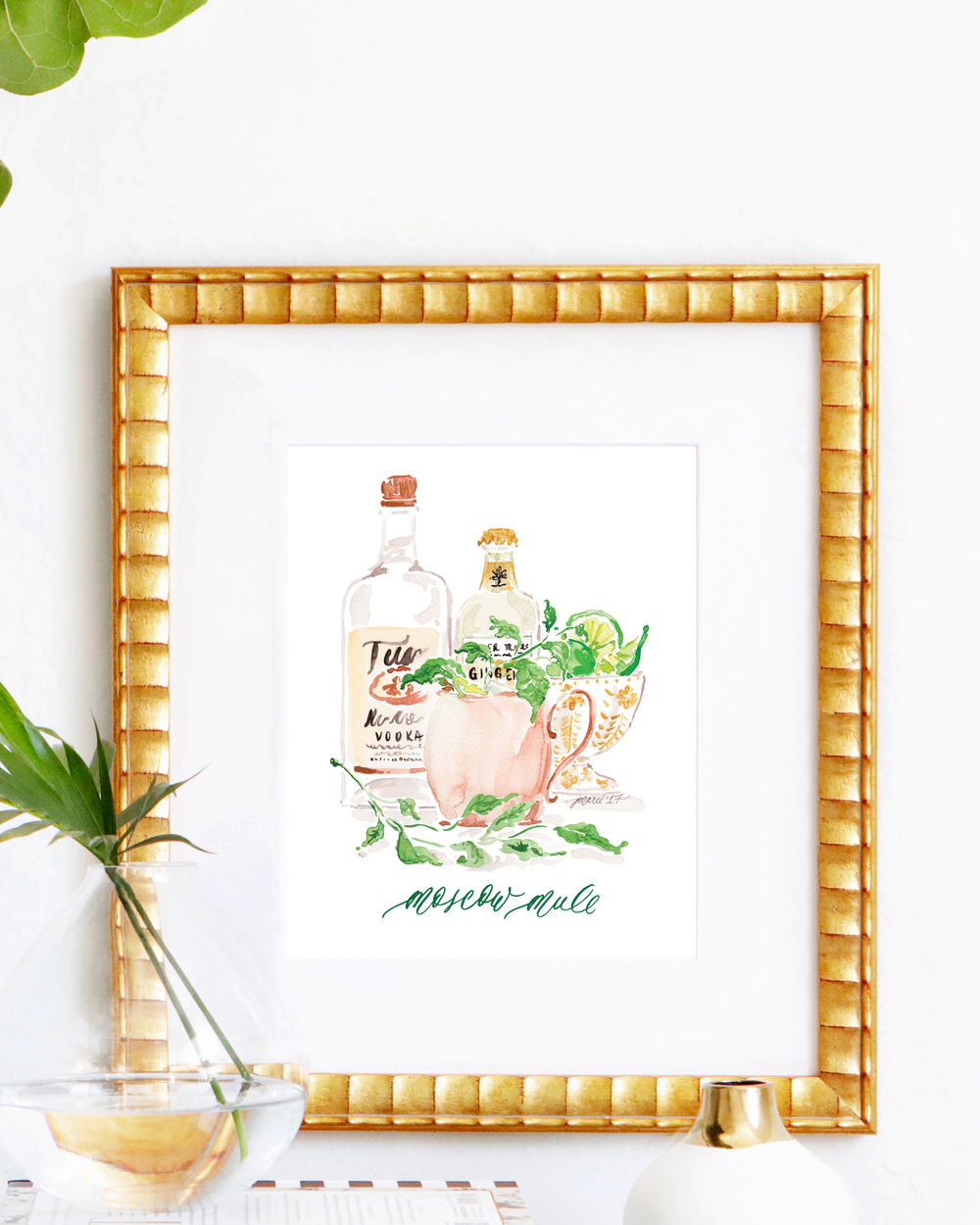 Classic Moscow Mule cocktail recipe | Moscow Mule watercolor art print by Simply Jessica Marie | SC Stockshop