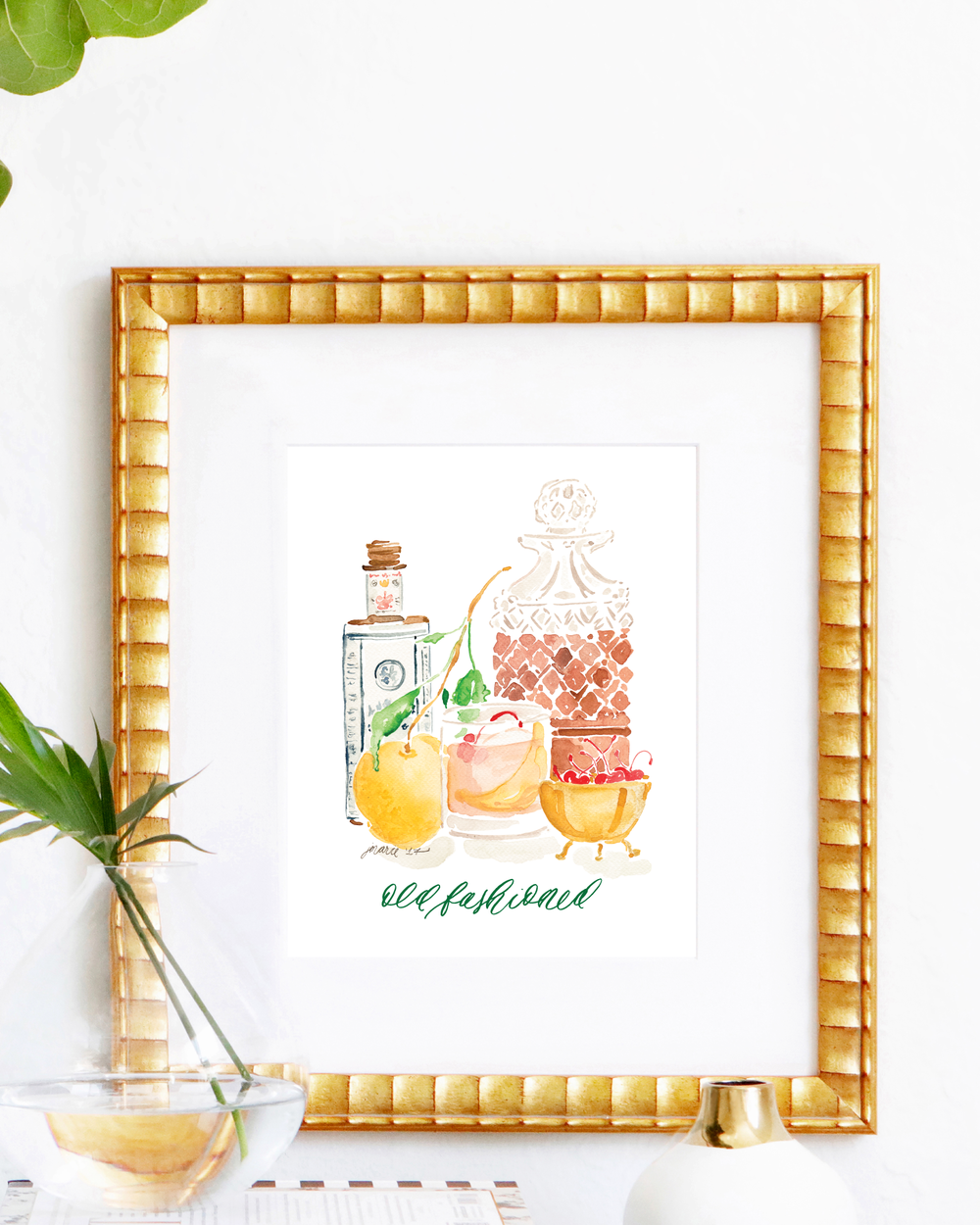 Classic Old Fashioned cocktail recipe | Old Fashioned watercolor art print by Simply Jessica Marie | SC Stockshop