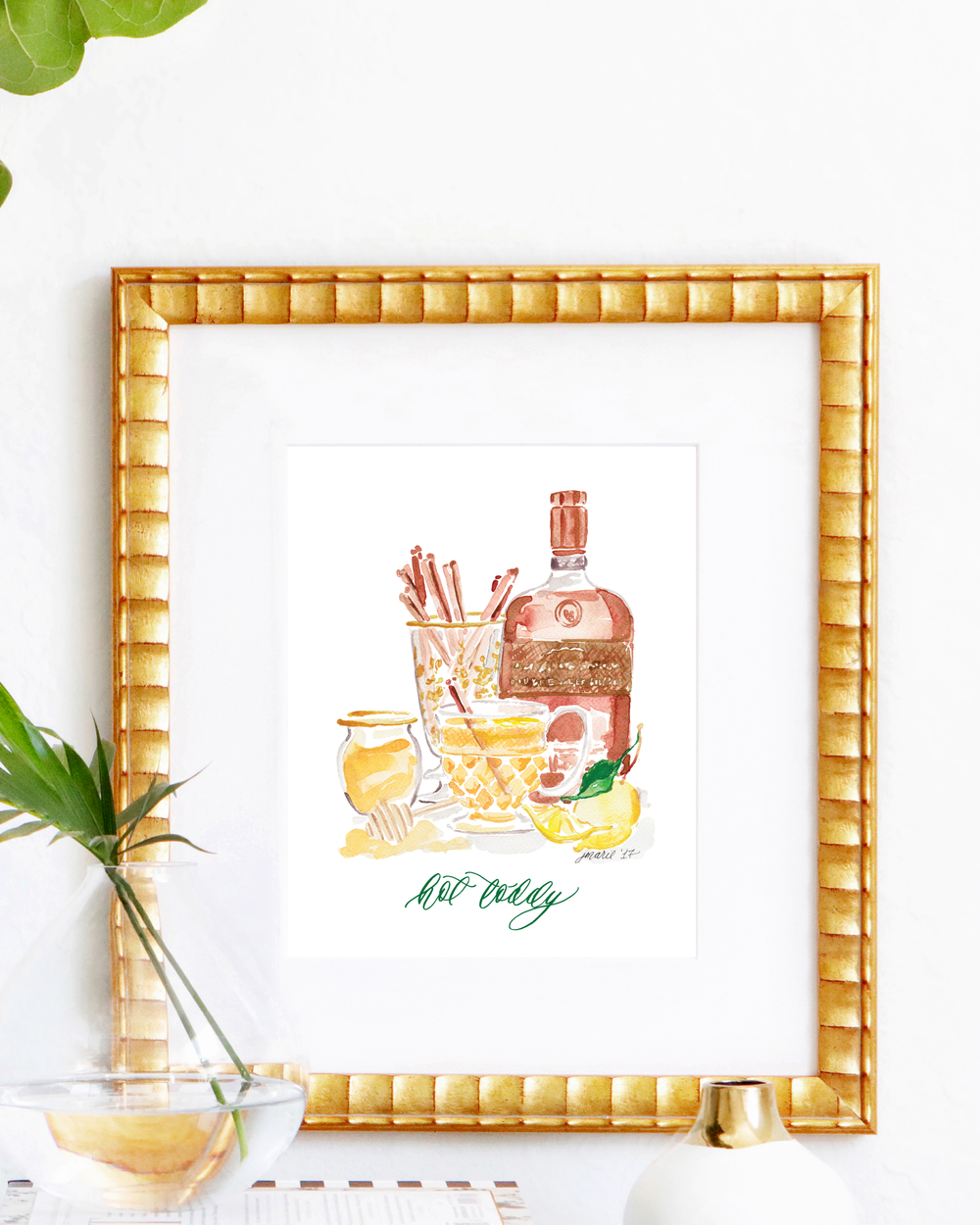 Classic Hot Toddy cocktail recipe | Hot Toddy watercolor art print by Simply Jessica Marie | SC Stockshop