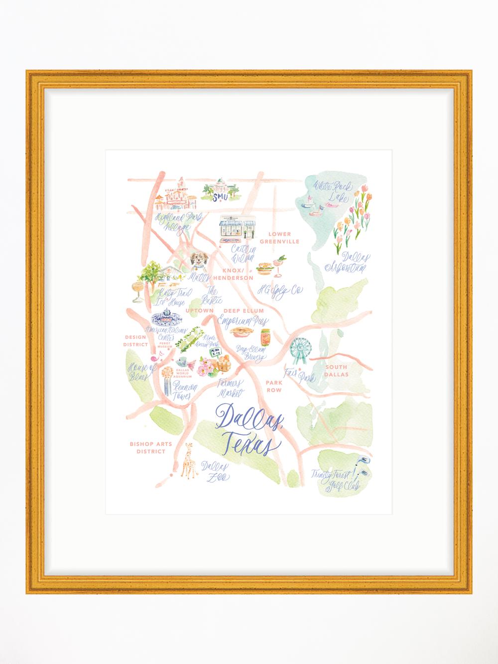 Dallas Watercolor Map Art Print Simply Jessica Marie