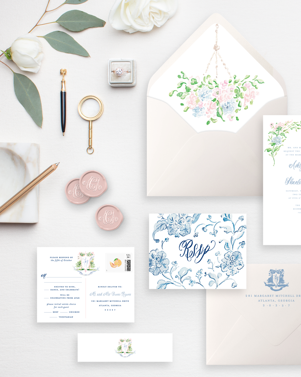 Custom Watercolor Wedding Crest | Savannah Invitation Suite by Simply Jessica Marie | SC Stockshop Photo