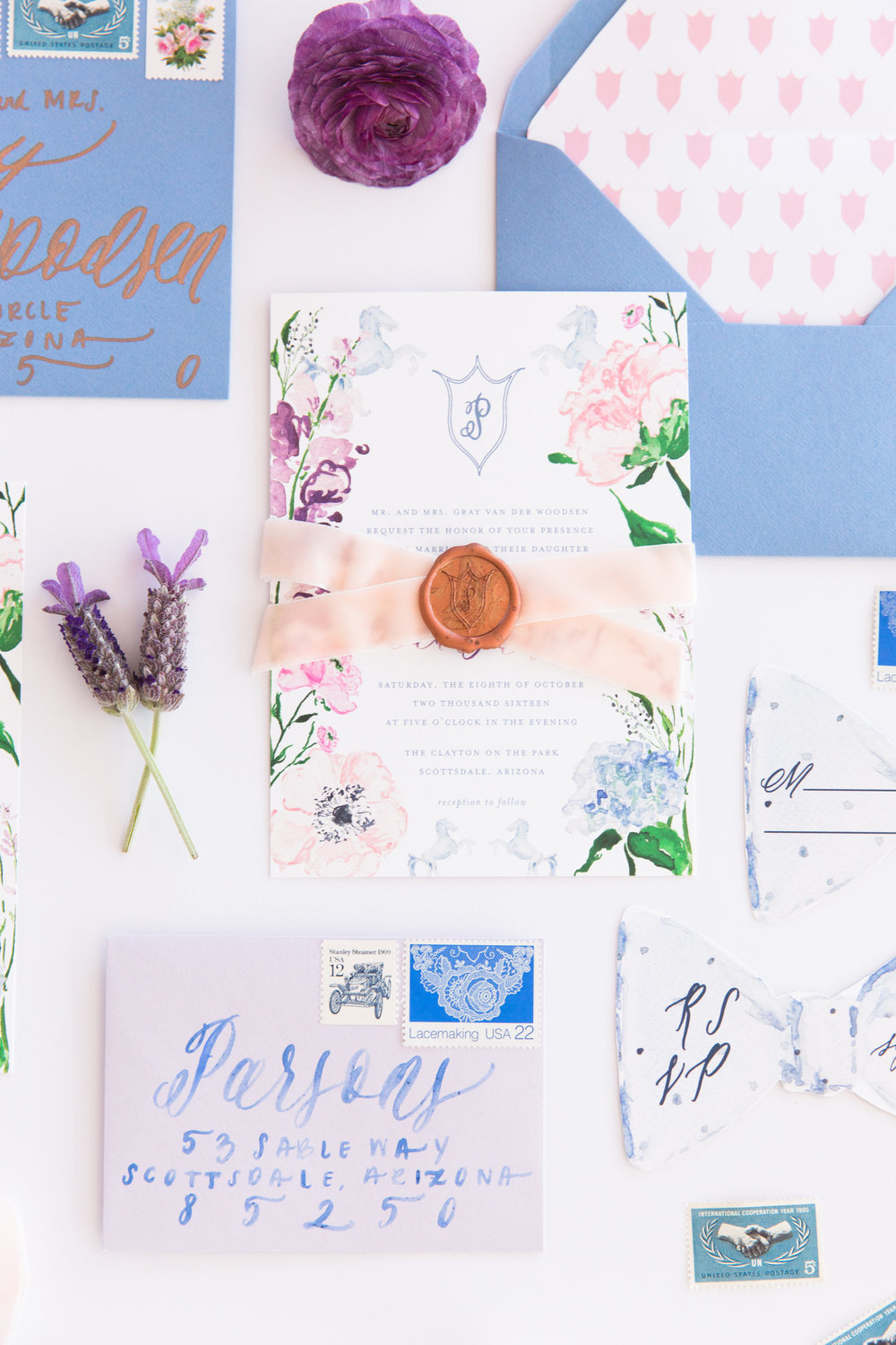 Custom Watercolor Floral French Blue and Lavender Wedding Invitations by Simply Jessica Marie | Photo by Amy and Jordan Photography