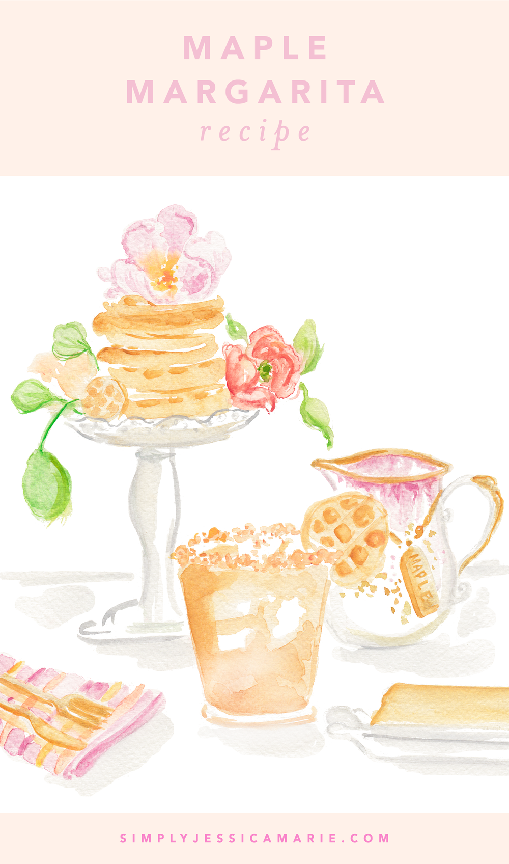 Maple Margarita Recipe   Watercolor Cocktail Painting by Simply Jessica Marie   SJM 2018 Cocktail Calendar