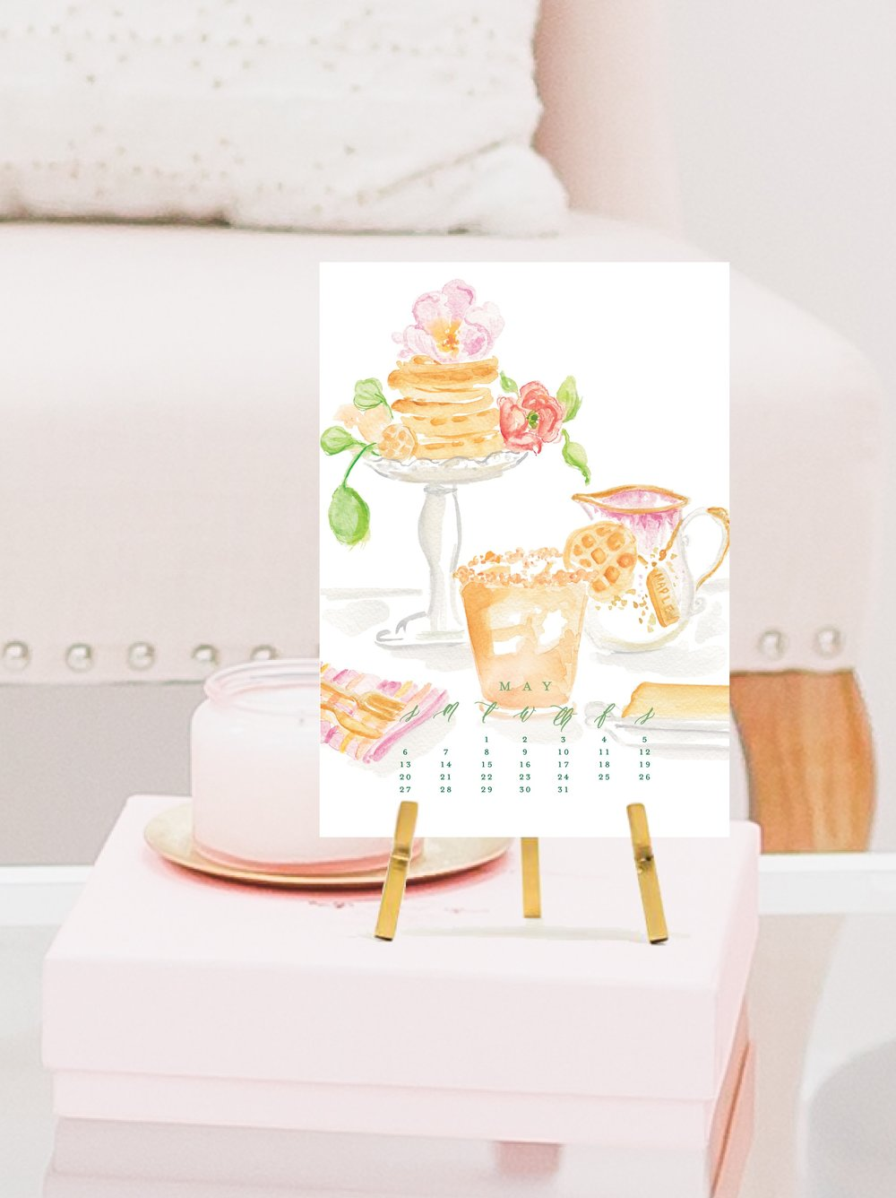 2018 Cocktail Calendar by Simply Jessica Marie   Watercolor Cocktail Calendar   Photo by SC Stockshop