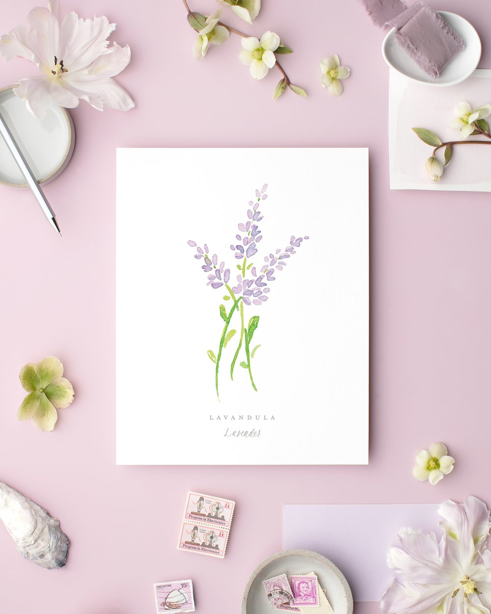 Lavender Watercolor Art Print by Simply Jessica Marie
