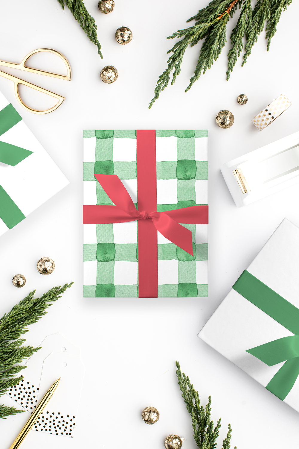 Green Watercolor Buffalo Check Wrapping Paper by Simply Jessica Marie