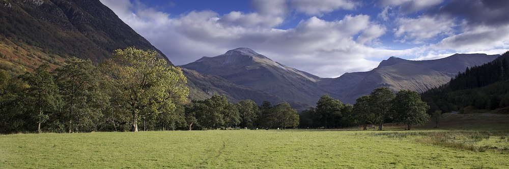 Lookin east up Glen Nevis to Sgurr a Mhaim.