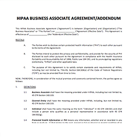 HIPAA Business Associate Agreement Template — United Physician Services